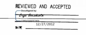 署名の書体は数パターンから選ぶ事ができます。Docusignの証明書が署名が正規のものであることを証明しています。
