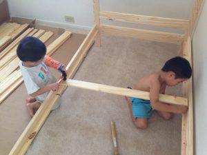 ハワイで子育て:子供部屋の新アイテム、二段ベッド!
